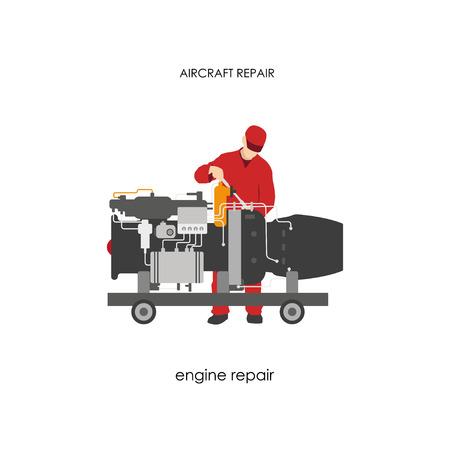 Ilustración de Repair and maintenance aircraft. Mechanic in overalls repairing aircraft engine. Vector illustration - Imagen libre de derechos