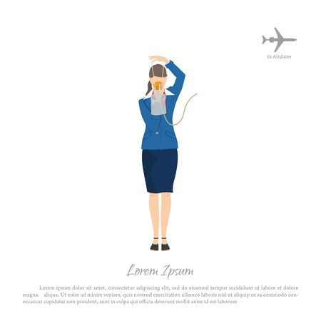Ilustración de The flight attendant demonstrates the use of an oxygen mask. Stewardess in aircraft cabin. Vector illustration - Imagen libre de derechos