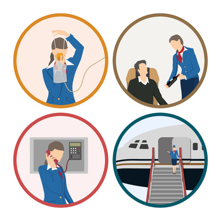 Ilustración de Stewardess serves passengers on the airplane. Attendant woman in uniform. Aircraft crew. Vector illustration - Imagen libre de derechos