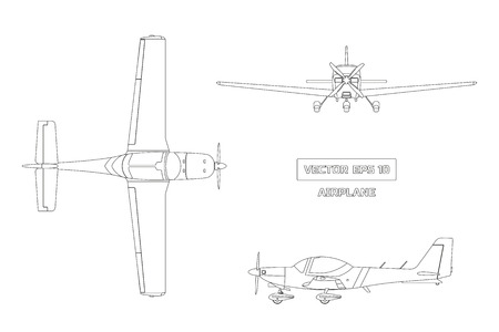 Ilustración de Outline drawing of airplane on white background - Imagen libre de derechos