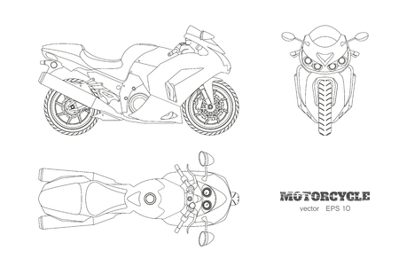 Ilustración de Outline drawing of motorcycle. Side, top and front view, Detailed isolated blueprint of motorbike on white background - Imagen libre de derechos