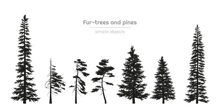 Illustration pour Black silhouettes of fur-trees and pines. Forest landscape. Isolated drawing of simple objects. Vector illustration - image libre de droit