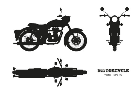 Ilustración de Black silhouette of retro classic motorcycle. Side, top and front view. Drawing of vintage motorbike on white background. Vector isolated illustration - Imagen libre de derechos