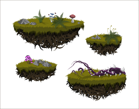 Illustration pour Fantastic flying islands. Isolated image of fantasy landscape. Magic rocks in sky. Fictional pieces of ground in cartoon style. Game asset. GUI element. Fairy world. Vector illustration - image libre de droit