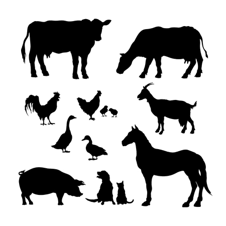 Illustration pour Black silhouettes of farm animals. Icons set of domestic cattle. Isolated image of rural livestock and poultry. Cow, horse, pig and goat. - image libre de droit