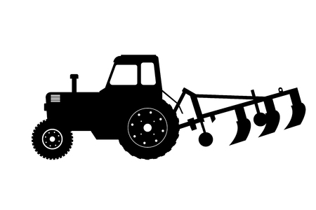 Illustration pour Black silhouette of tractor with plow. Farm machine. Side view. Isolated industrial drawing. - image libre de droit