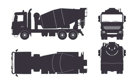 Illustration pour Black silhouette of concrete mixer truck. Side, top, front and back views. Isolated lorry blueprint. Industrial drawing. Construction vehicle for build - image libre de droit