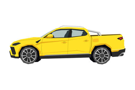 Illustration for Pickup drawing. Off-road car in cartoon style. Isolated vehicle art for kids bedroom decor. Side view of yellow SUV. Truck for nursery decor - Royalty Free Image