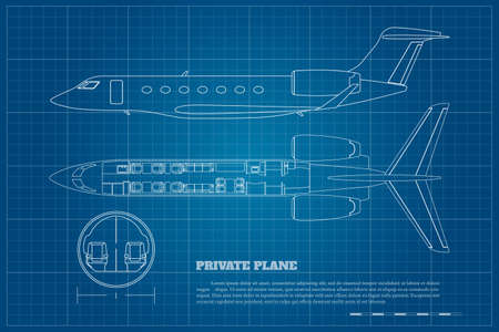 Illustration for Outline private airplane interior. Side and top view of business plane. Plane seats map. Drawing of commercial aircraft. Luxury jet industrial blueprint. Passenger plan - Royalty Free Image