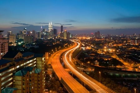 Scenery of twilight and busy elevated highway in Kuala Lumpur, Malaysia