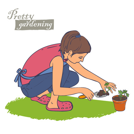 A woman working in the garden, planting plants in ceramic potのイラスト素材
