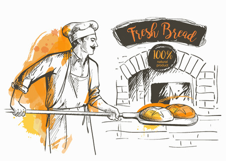Illustration pour baker in uniform taking out with shovel baked bread from the oven - image libre de droit