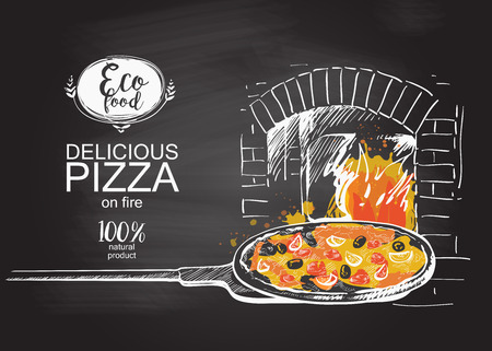 Illustration pour pizza ready to bake in the oven vector illustration - image libre de droit