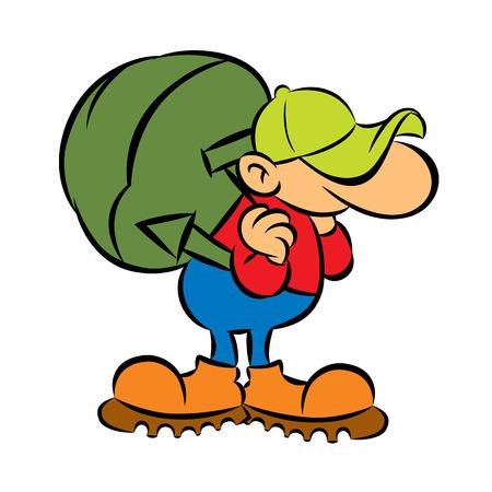 Illustration pour cartoon tourist with big green backpack vector illustration - image libre de droit