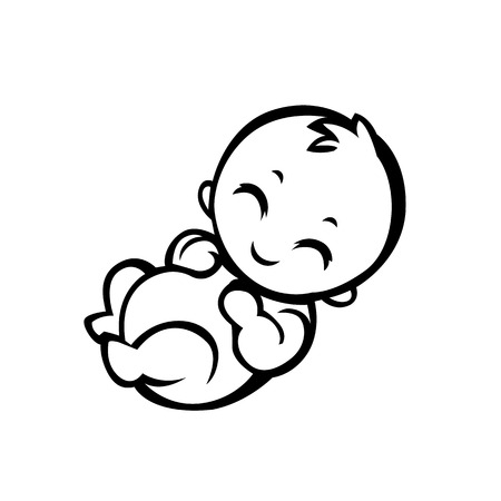 newborn little baby smiling with small arms and legs stylized simplified form suitable for icons