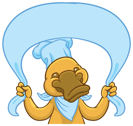 Funny happy cartoon platypus or duckbill - vector  , tablet and nameplate or sign template