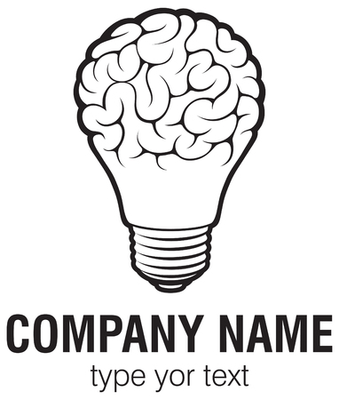 Ilustración de Light bulb idea with brain vector logo template. Corporate icon such as logotype. Creative light bulb idea brain vector. - Imagen libre de derechos