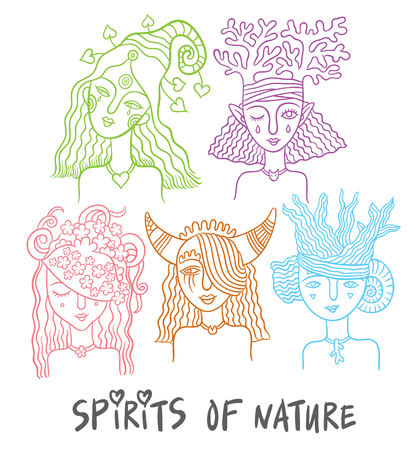 set of characters - the spirits of nature - water, forests, plants, animals fairies - hand drawing vector illustrations