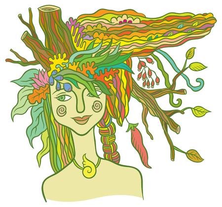 Goddess Mother Nature - symbol of the spirit of nature - hand drawing vector illustration