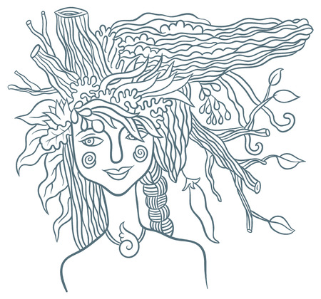 Goddess Mother Nature - symbol of the spirit of nature - hand drawing vector illustrationのイラスト素材