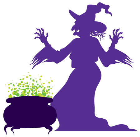 Illustration pour silhouette of the old scary witch with magic cauldron - image libre de droit