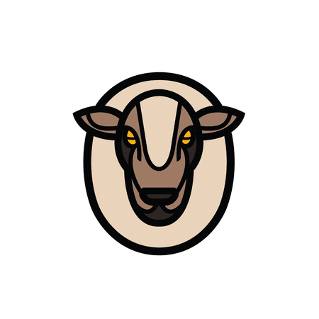 Colorful stylized drawing head of sheep