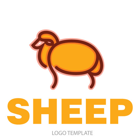Color stylized drawing of sheep - for icon or sign template