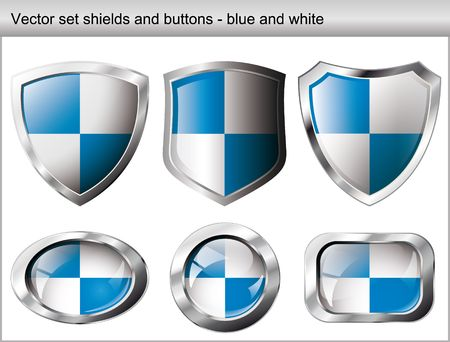 Vector illustration set. Shiny and glossy shield and button with blue and white colors. Abstract objects isolated on white background.