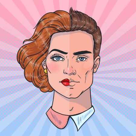 Ilustración de Two halves of a whole. Man and woman face. Gender differences. Vector illustration in pop art style. - Imagen libre de derechos