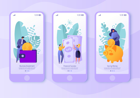 Illustration for Mobile app page, screen set. Concept for website and business theme finance. Concept of making money, saving money and financial success. Flat people, business characters collecting coins. - Royalty Free Image
