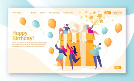 Illustration for Concept of landing page with birthday celebrations theme. Birthday party celebration with friends. People love their holiday, celebrate their holiday around a big, beautiful, bright gift. - Royalty Free Image