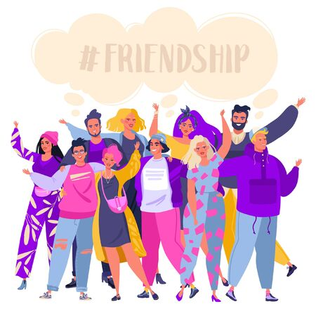 Illustration pour Group of smiling, happy, young people standing together, embracing each other, waving hands. Cute, joyful friends isolated on white background. Friendship concept. Flat cartoon, vector illustration. - image libre de droit