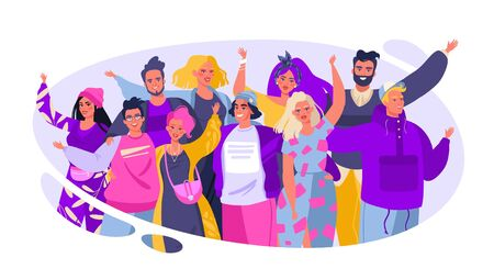 Illustration pour Colorful vector illustration with cute joyful friends. Friendship concept. Group of smiling, happy, young people standing together, embracing each other, waving hands. Flat cartoon style. - image libre de droit