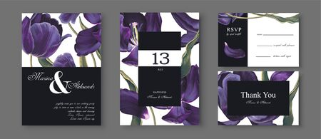 Vektor für Save the Date wedding cards set with blossom tulips flowers, leaves and petals. Dark blue almost black detailed vintage flowers. Birthday Invitation, anniversary, party poster, RSVP floral template. - Lizenzfreies Bild
