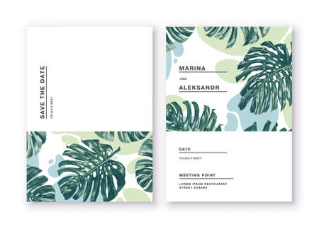 Illustration pour Minimalistic cards with tropical leaves of monstera on background of abstract spots in restrained colors. Greeting cards posters, banners for online and offline stores. Feel free to use the place text - image libre de droit