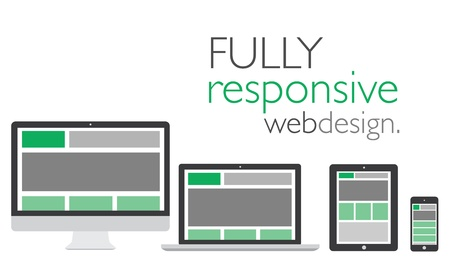 Illustration pour Fully responsive web design in electronic icon devices  - image libre de droit