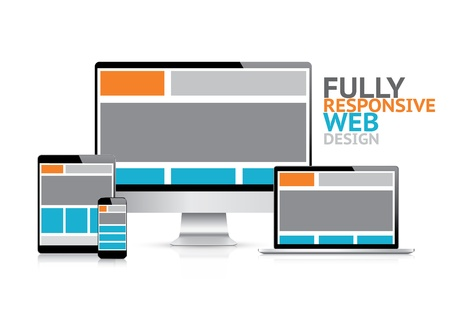Illustration for Responsive web design concept in electronic devices  - Royalty Free Image