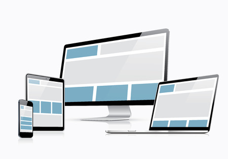 Responsive web design vector template with laptop, tablet, smartphone and computer