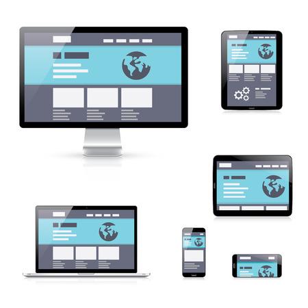 Flat responsive web development vector illustration device icons