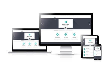 Flat responsive web design development vector concept in realistic devices