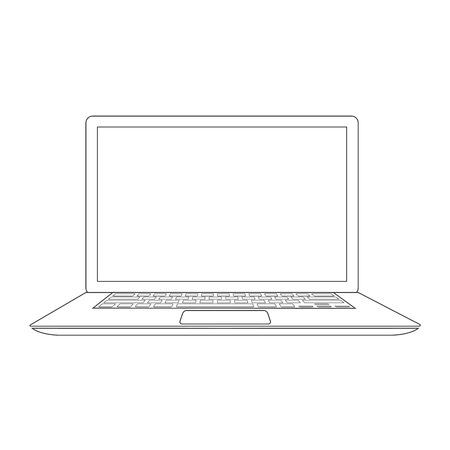 Outlined laptop vector illustration