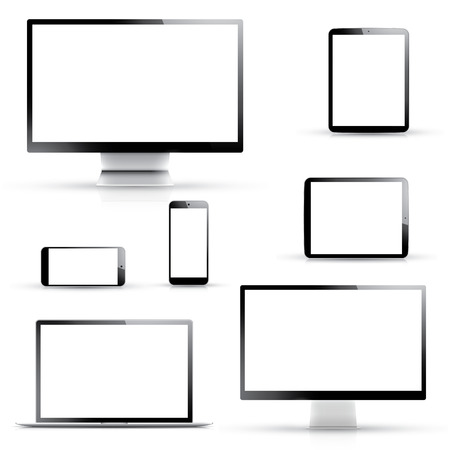Electronic devices, laptop, tablet, smartphone and computer displays isolated on white background