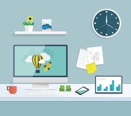 Illustration pour Flat desktop of web and graphic design development office - image libre de droit