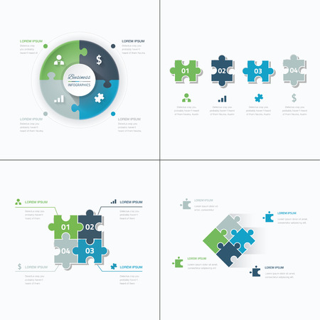 Set of puzzle pieces jigsaw business infographics concept vectorのイラスト素材