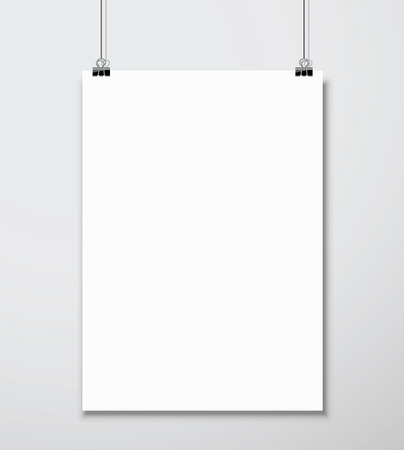 Illustration for Empty white A4 sized vector paper mockup hanging with paper clip - Royalty Free Image