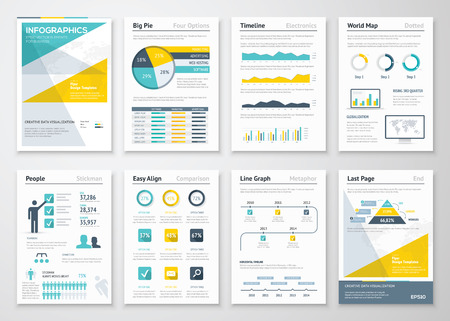 Business info graphics vector elements for corporate brochures