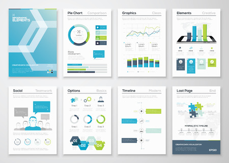 Ilustración de Infographics flyer and brochure designs and web templates vector - Imagen libre de derechos