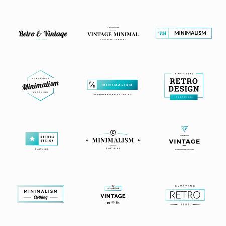 Twelve minimal retro and vintage vector logos for shops
