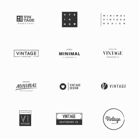 Minimal vintage vector logo templates for brand design