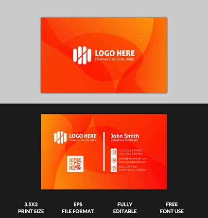 Illustration pour Modern and Corporate business card, yellow and red gradient business card template, ready to print red and yellow gradient modern business card - image libre de droit